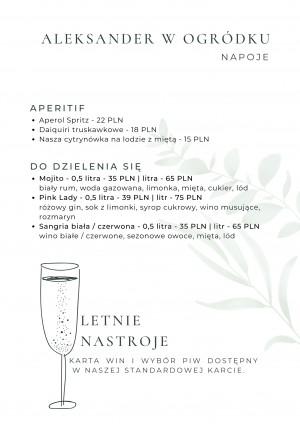 Włocławek Restauracja Aleksander menu sezonowe