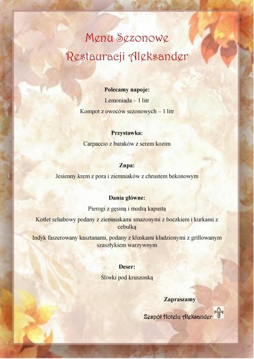 Restauracja Aleksander we Włocławku - menu sezonowe